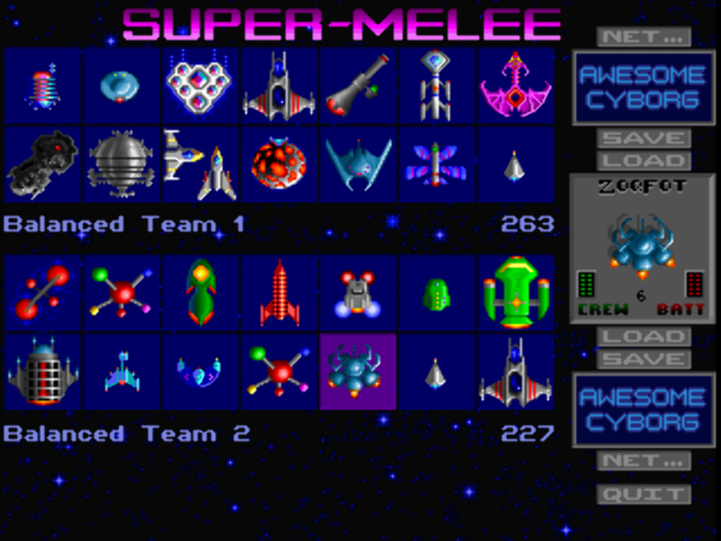 Building a pair of fleets to fight to the death in Super Melee (this is from <em>The Ur-Quan Masters</em>—note netplay buttons).