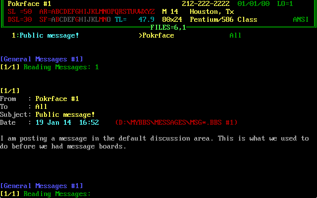 Posting and reading messages on a BBS looked pretty much like this.