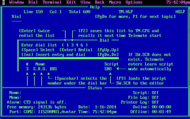 Can't figure out your terminal program? No worries! Here's your help screen! ALL BETTER NOW, RIGHT?