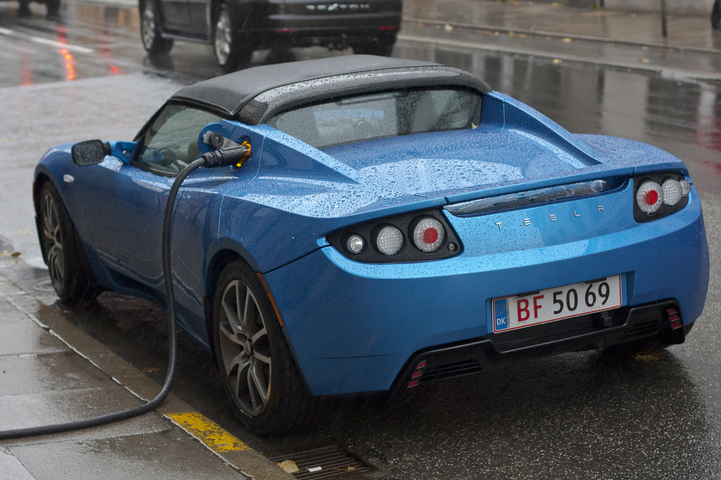 A Tesla Roadster proves you can charge an EV in the rain.