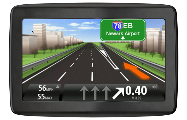Lane guidance on a TomTom GPS unit.