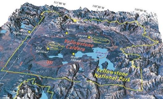 Perhaps the world's most famous supervolcano, the Yellowstone Caldera.