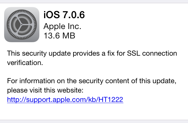 Apple releases iOS 7.0.6 and 6.1.6 to patch an SSL problem