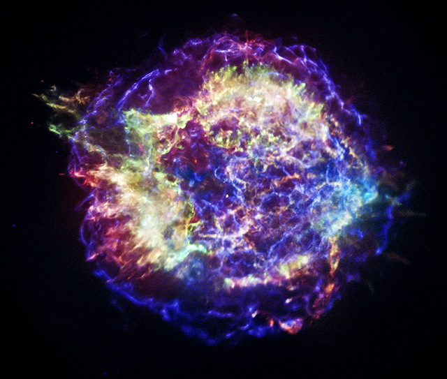 X-ray image of the Cassiopeia A supernova remnant. Each color represents a different energy of X-ray light.
