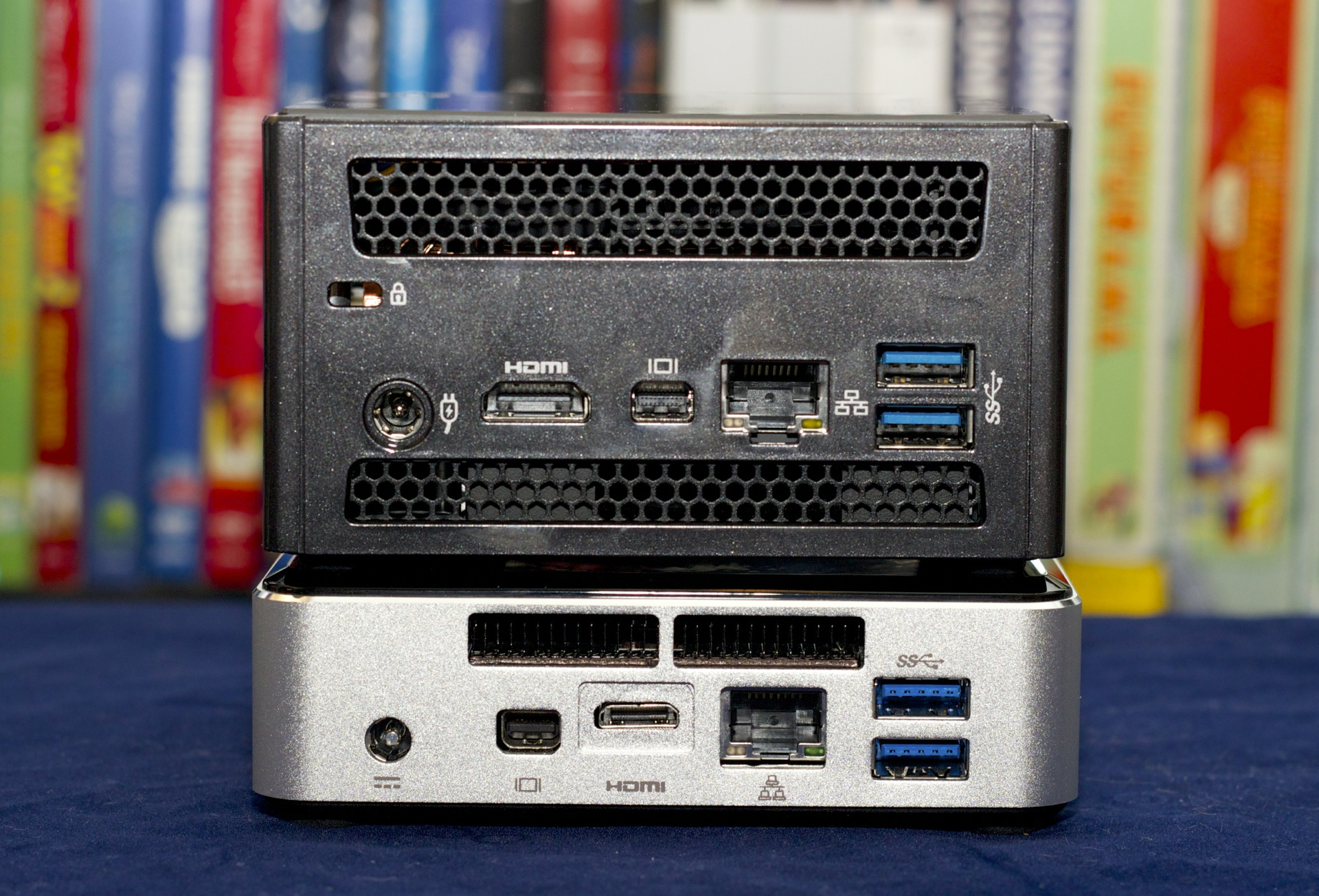 The port layout is essentially identical—two USB 3.0 ports and an audio jack on the front; two USB 3.0 ports, a gigabit Ethernet jack, a mini DisplayPort, a full-size HDMI port, and a Kensington lock slot on the back. The NUC uses mini-HDMI, so the Brix will save you the cost of an adapter if you want to hook this thing up to your TV or an HDMI-equipped monitor.