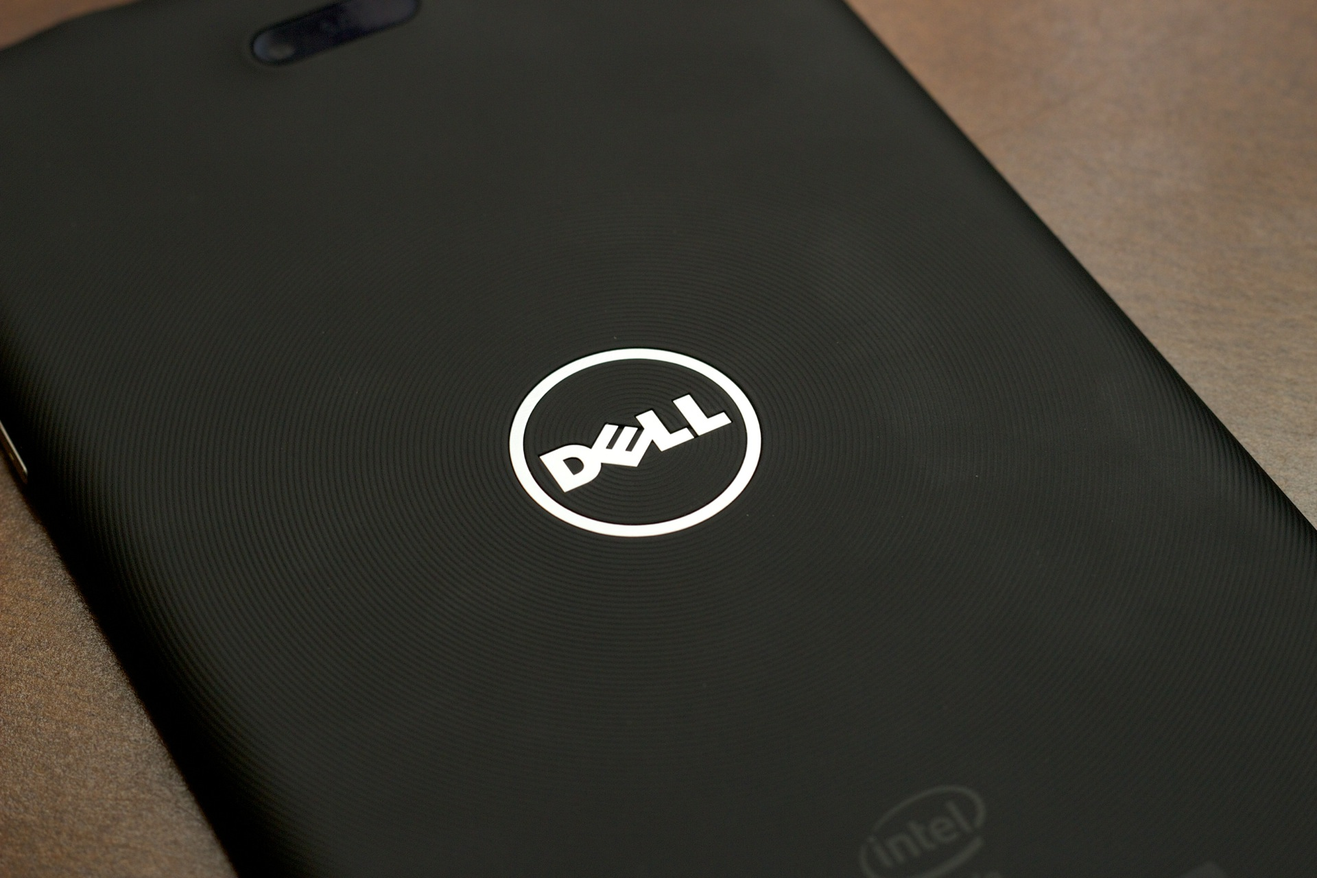 The Dell logo on the back of the Venue 8 Pro.