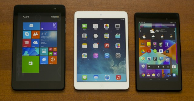 The Venue 8 Pro is larger than the Retina iPad mini or 2013 Nexus 7, but it doesn't stick out like a sore thumb.
