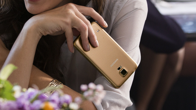 A close-up of the perforated back of the S5.