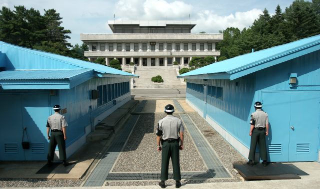 "The ""truce village"" at Panmunjom in Korea's demilitarized zone. The US expressed concerns that Chinese network hardware could be used to spy on South Korean-US military communications."