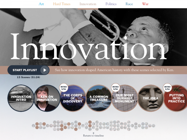 """Innovation"", one of the playlists available for free in the Ken Burns app."