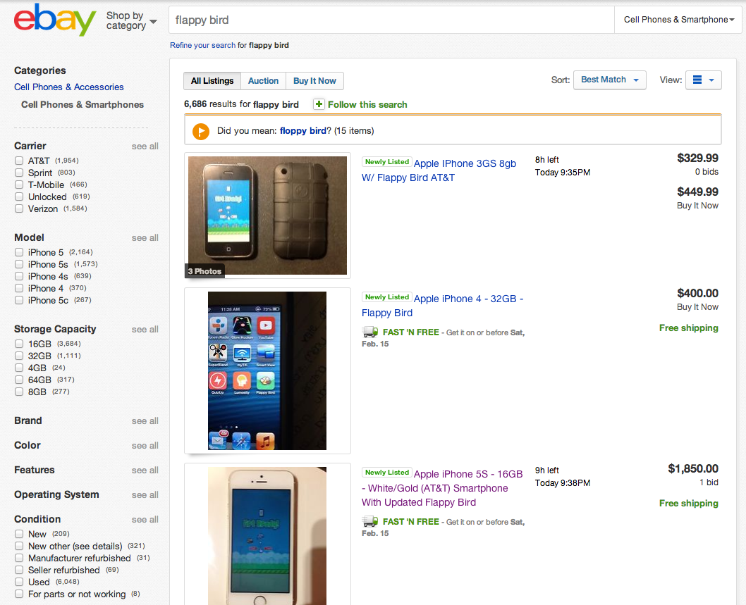 Thousands Flock To Ebay To Sell Iphones With Flappy Bird Installed Updated Ars Technica