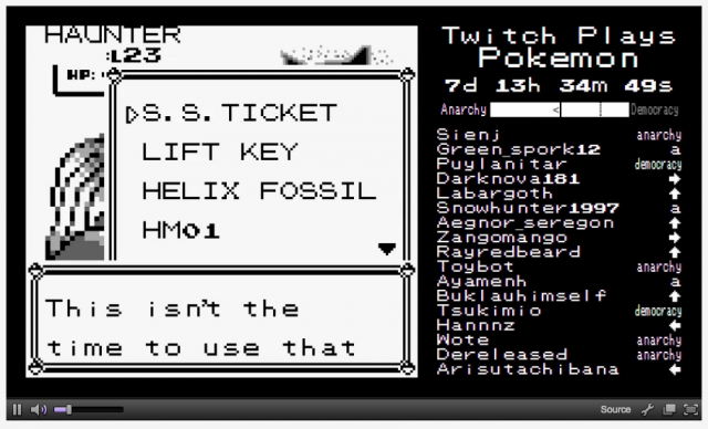 Twitch Plays Pokémon fights a Haunter. Kind of.