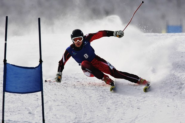 Takumu Yoshinami of Japan in action during the mens Giant Slalom of the sixth Asian Winter Games at Jilin Beida Lake Skiing Site February 1, 2007 in Changchun, China.