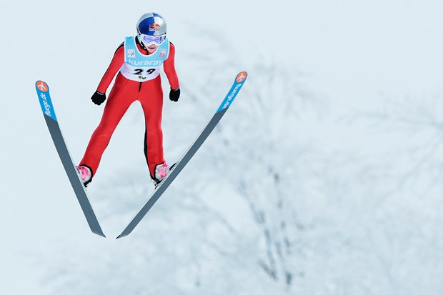 Sarah Hendrickson of the USA jumps during day two of the FIS Women's Ski Jumping World Cup at Zao Jump Stadium on February 10, 2013 in Yamagata, Japan.