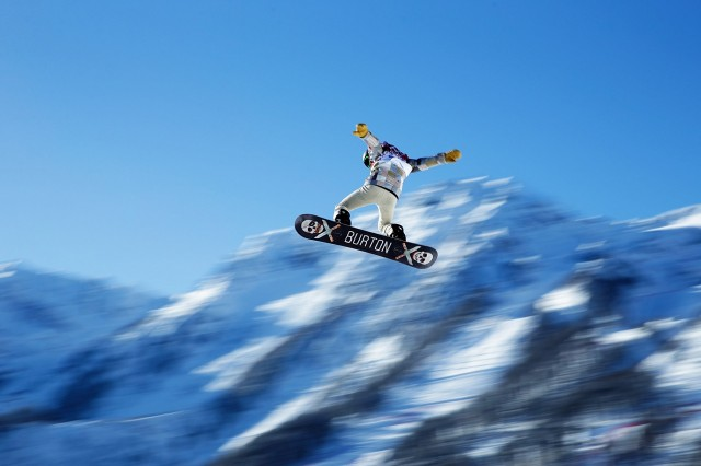 Shaun White of the USA gets some air on the Slopestyle course ahead of the Sochi 2014 Winter Olympics on February 4, 2014 in Sochi, Russia.