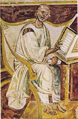 The earliest portrait of St. Augustine, in a sixth century Roman fresco.