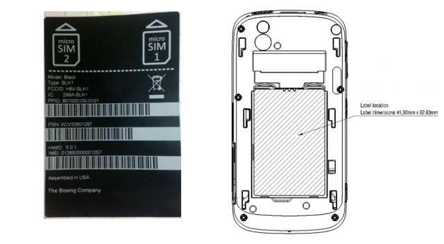 Schematics for the FCC labeling of the Boeing Black, a secure Android smartphone for a very select set of customers.