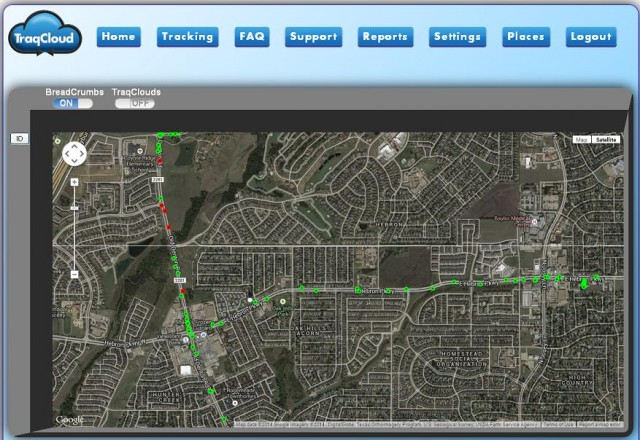 "The Texas-based TraqCloud says that its GPS tracker can be put into ""BreadCrumbs"" mode. Red dots indicate speeding."