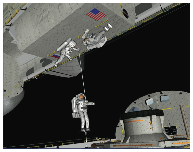 Another view of the crew transfer between <em>Columbia</em> and <em>Atlantis</em>.