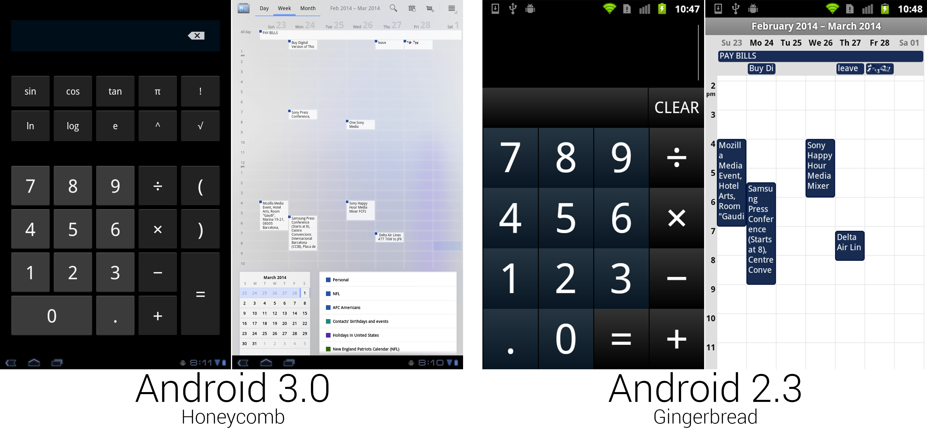 The calculator finally used regular Android buttons, but someone spilled blue ink on the calendar.