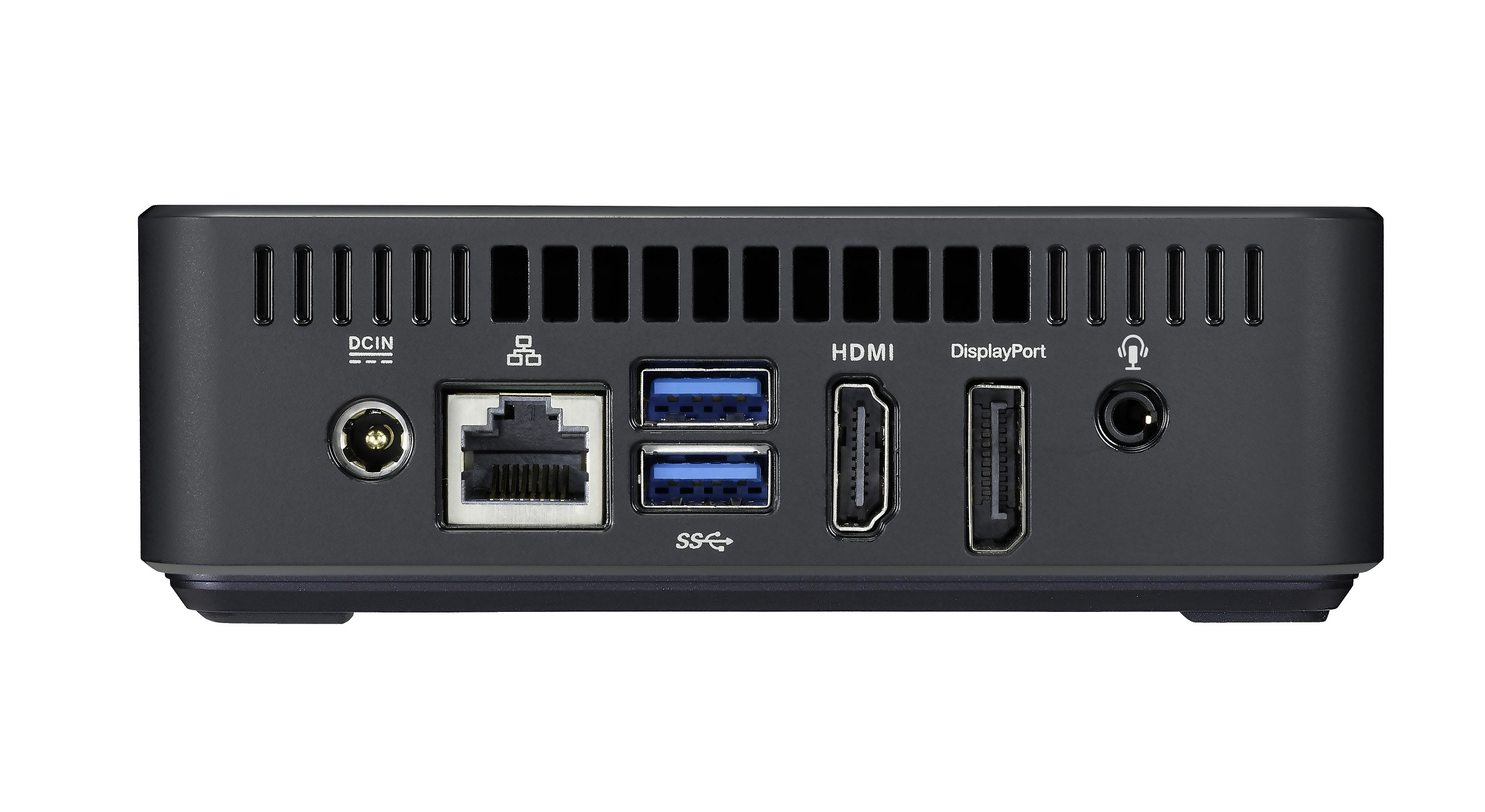 In addition to the USB ports on the front, the box includes two more USB 3.0 ports on the back, one gigabit Ethernet jack, one full-size HDMI port, and one full-size DisplayPort.
