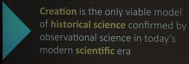 "Ken Ham argues for two types of science: ""observational"" and ""historical."""