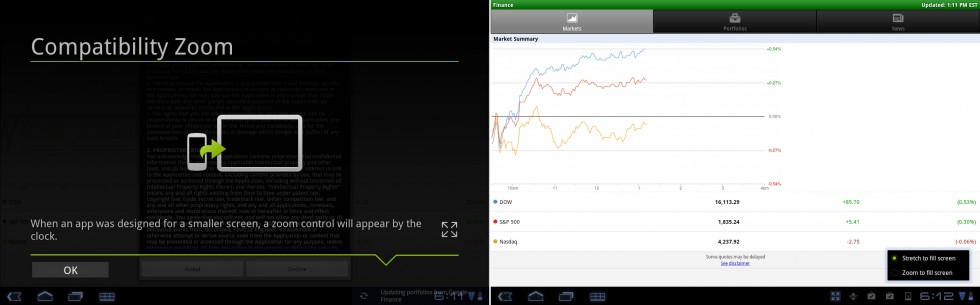 Android 3.2's compatibility zoom and a typical stretched-out app on an Android tablet.