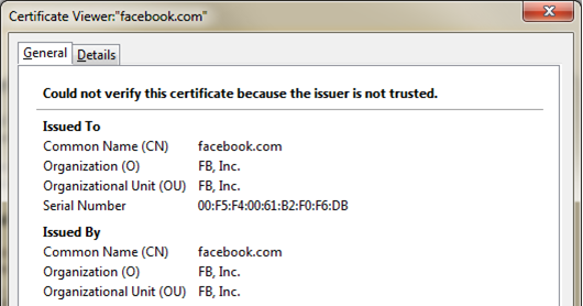 One of the many fraudulent SSL certificates, this one impersonating Facebook. Facebook apps won't be fooled by it, but other programs might.