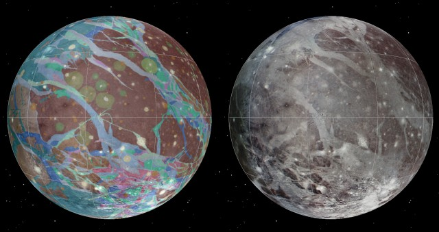 Imagery of Ganymede's surface (right) and the new map of its geology (left).