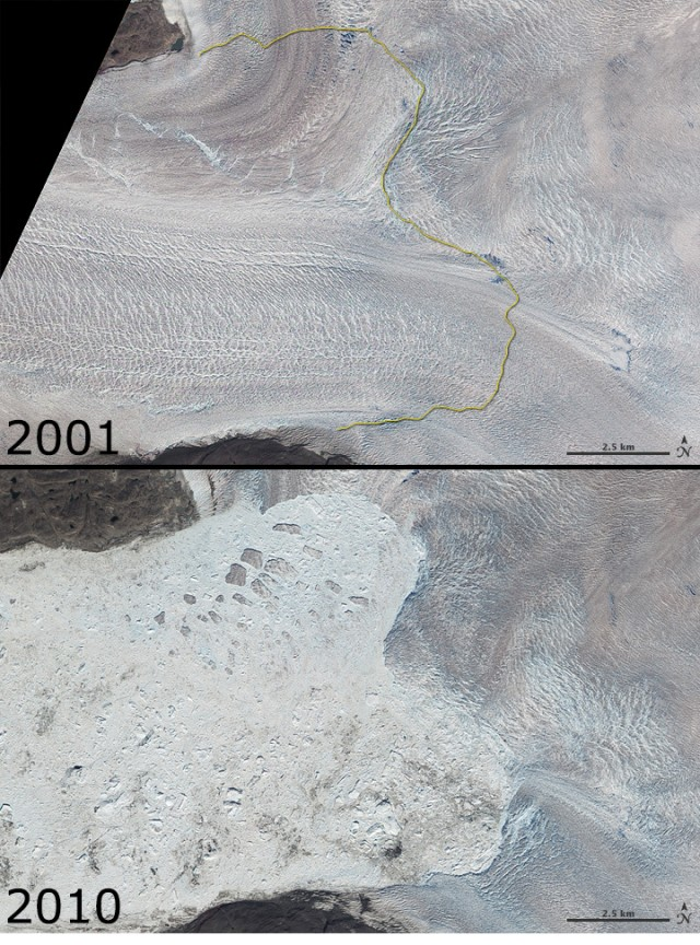 Satellite images of the Jakobshavn Glacier in 2001 and 2010.
