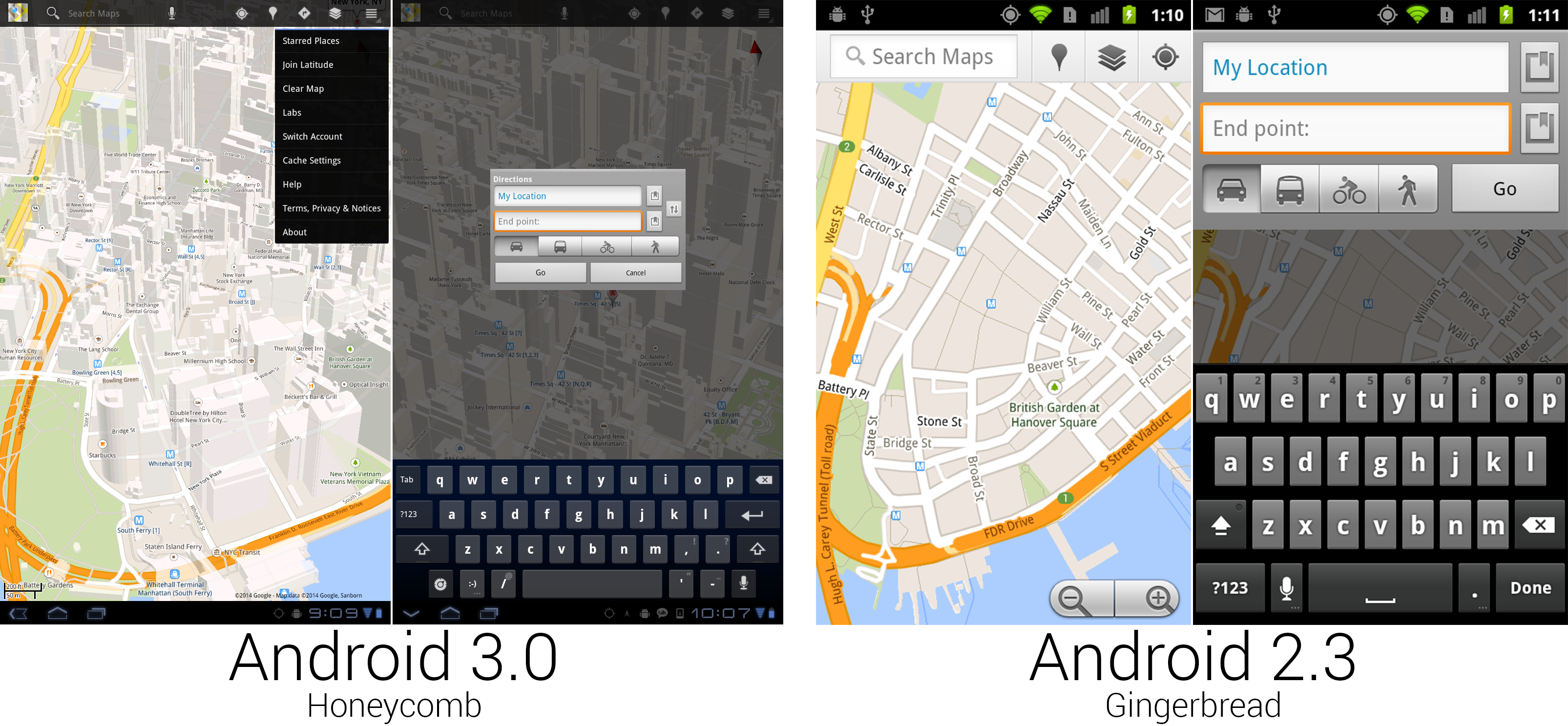 Some of the new Google Maps was really nice, and some of it was from Android 1.5.