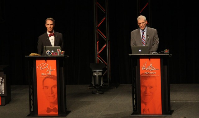 Bill Nye and Ken Ham square off at the Creation Museum in Petersburg, Kentucky.