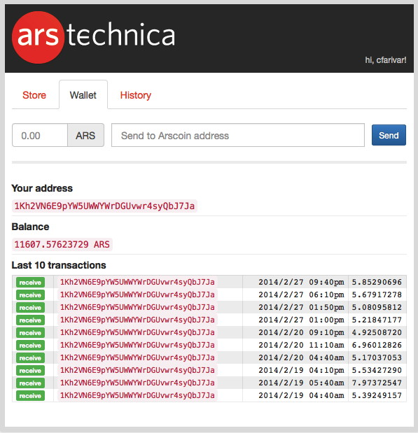 Cyrus Farivar's online Arscoin wallet, as of February 28, 2014.