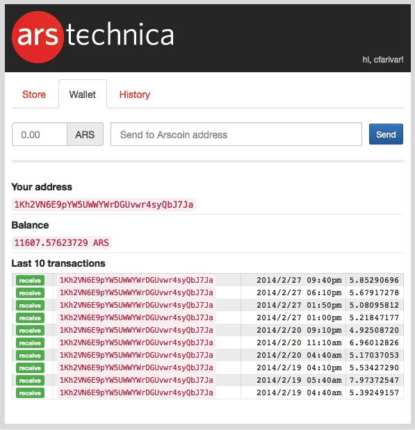 Cyrus Farivar's online Arscoin wallet, as of February 28, 2014.