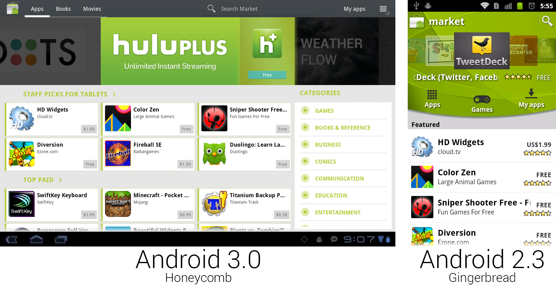 """Yet another Android Market redesign dips its toe into the """"cards"""" interface that would become a Google staple."""