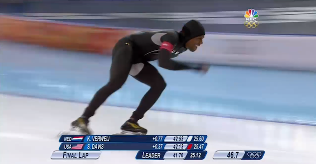 Shani Davis wearing the Under Armour suit in question, in the race that placed him eighth overall.