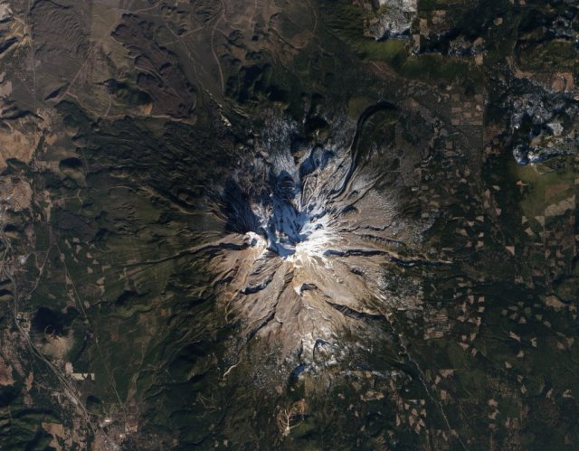 California's Mt. Shasta, part of the Cascade Range, a continental volcanic arc.