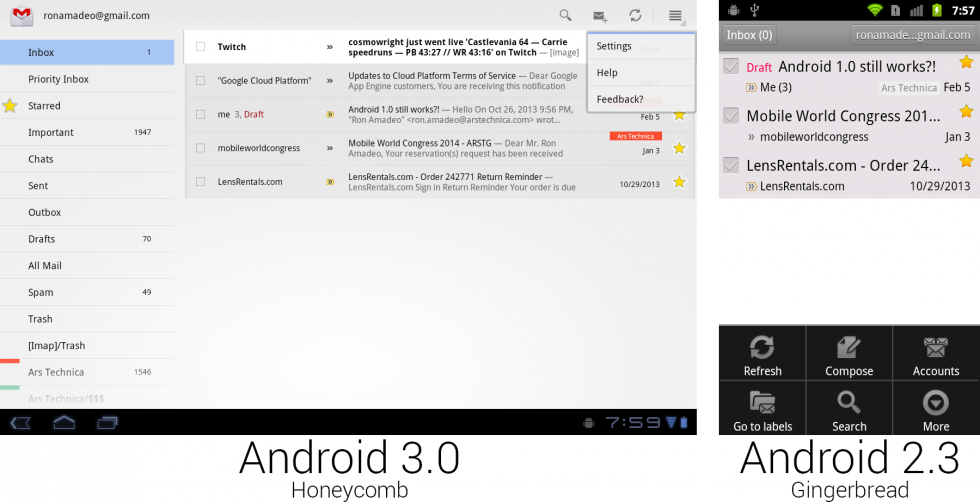 Gmail on Honeycomb versus Gmail on Gingerbread with the menu open. Buttons were placed on the main screen for easier discovery.