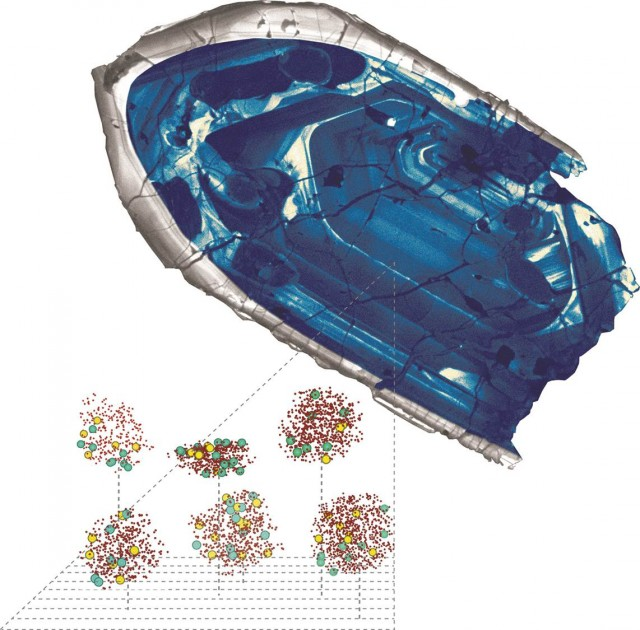 The nearly 4.4 billion year old zircon, showing examples of clusters of mapped atoms.