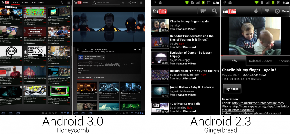 The new YouTube app looked like something out of the Matrix.