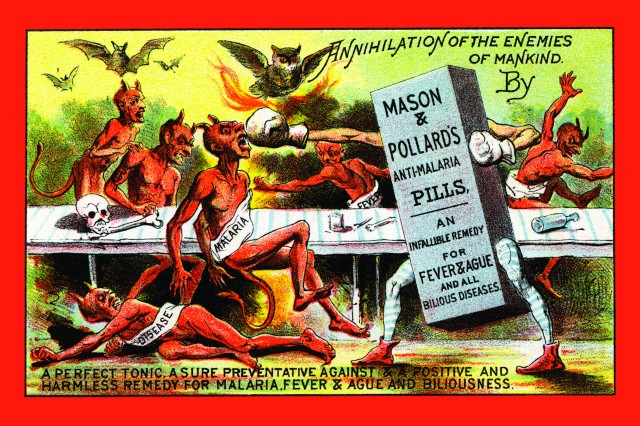 "Malarial cures were promised long before medicine could deliver. A turn of the century quack medicine card for ""Annihilation of the enemies of mankind."" United States, circa 1890:"