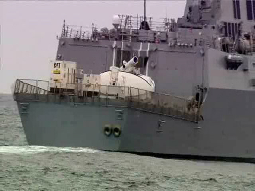 A prototype of the Laser Weapon System (LaWS) at sea in a test in 2013.