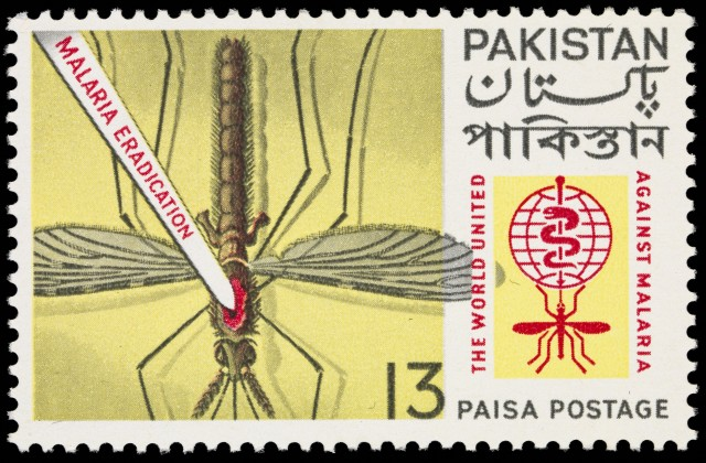 Many nations had stamps to build public support for a past global campaign against malaria. Pakistan's is one of the more violent ones.