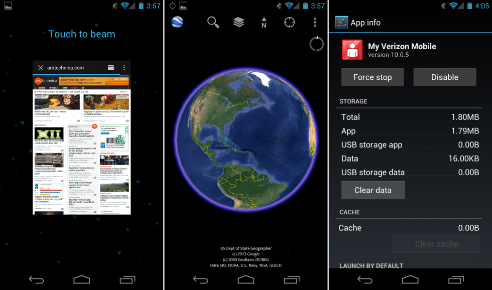"The ""touch to beam"" NFC support, Google Earth, and App Info, which would let you disable crapware."