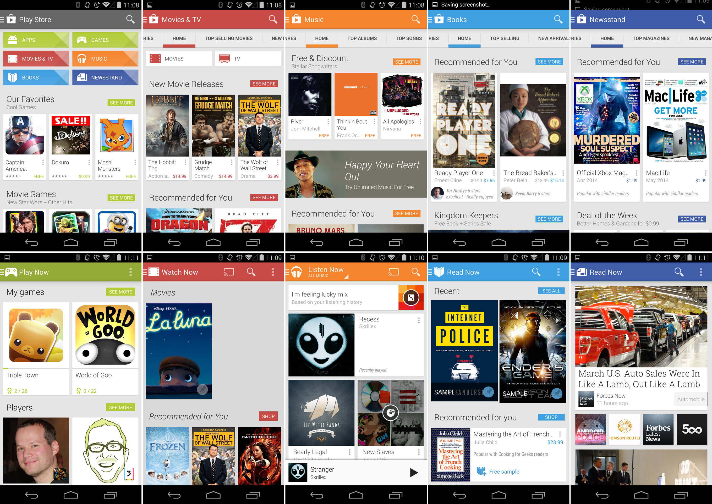 Top row: the Google Play content stores. Bottom row: the Google Play Apps.