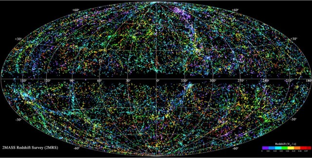 A detailed, panoramic view of the nearby (380 million light years and closer) Universe from the Micron All-Sky Survey Redshift Survey.