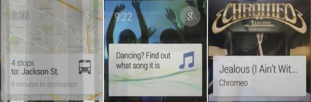 A Navigation notification, activity recognition, and song recognition.