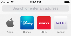 Safari address bar in iOS 7.0. It uses a fainter, lighter font.