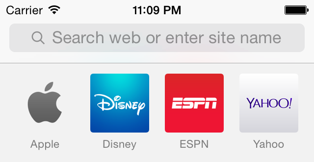 Address bar in iOS 7.1. Throughout the OS, Apple uses thicker fonts with more contrast.