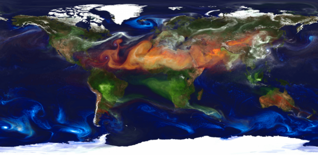 An atmospheric model simulation showing various types of aerosol particles. White marks sulfate aerosols from volcanoes and fossil fuel emissions. Red is dust, green is smoke, and blue is sea salt.